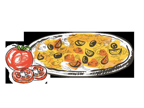 Zeichnung einer Pizza